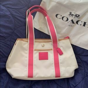 COACH Hamptons Canvas Leather Trim Tote Bag